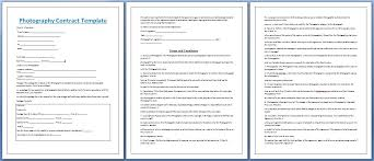 Professional Photography Contract Template Free Photography
