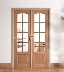 worthing oak internal french doors with clear bevelled glass