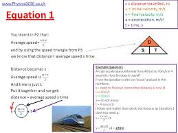 physicsgcse co uk s distance travelled m u initial velocity m s v final velocity m s a acceleration m s 2 t time s