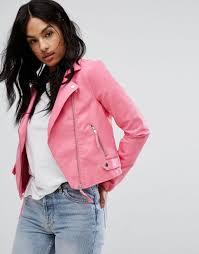 vero moda leather look biker jacket women pink jackets vero moda tops