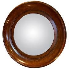 handsome convex mirror in rich round burl wood frame for