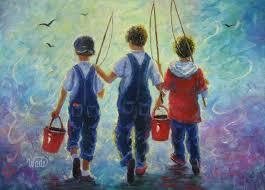 three brothers fishing print art three boys fishing going fishing painting vickie wade art