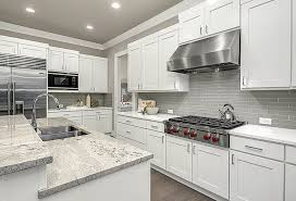 white cabinet kitchen with gray ceramic tile backsplash