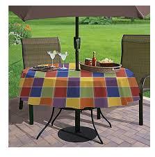 umbrella with hole zipper vinyl tablecloth multi color check 70 inches round com