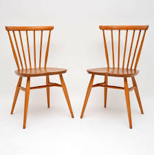 1960 s pair of solid elm vintage ercol dining side chairs