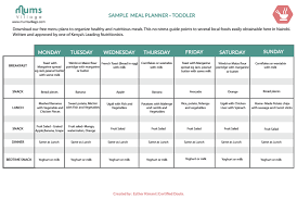 children menu planner meal planner toddler mumsvillage
