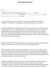 Sample Roommate Contract Sample Roommate Agreement Template Word