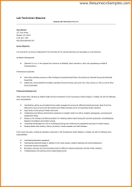 7 Medical Lab Technician Resume Resume Cover Note