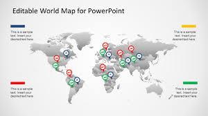 Map Of The World For Powerpoint Editable Worldmap For Powerpoint Slidemodel
