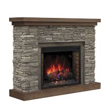 chimney free 54 in w 5 200 btu cappuccino brown ash wood infrared quartz electric fireplace with thermostat and remote control