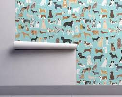 dog wallpaper for walls. Interesting Dog Dogs Wallpaper  Light Blue Lots Of Breeds Dog Breed By Petfriendly  Custom Printed Removable Self Adhesive Roll By Spoonflower And For Walls