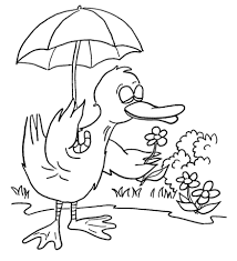 Small Picture Duck with Umbrella coloring page Free Printable Coloring Pages