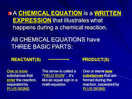 all chemical equations have three basic parts