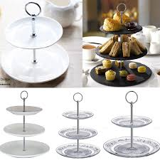 3 layer tier white ceramic round serving display cakes platter food stand rack