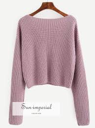 Pale Purple Hollow Out Long Sleeve Sweater – SUN-<b>IMPERIAL</b> ...