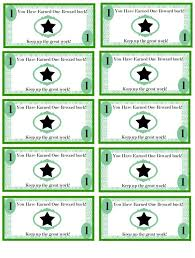 Printable Employee Incentive Bucks Kids Rewards Reward