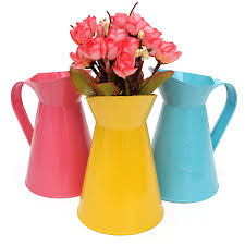 Decorative Water Pitchers Vintage Shabby Chic 60 Colors Flower Pitcher Vase Water Pot Jug 17