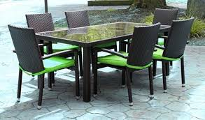 resin wicker patio furniture clearance repair suncast planters 7 piece black outdoor dining set lime home