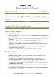 Financial Resume Template New Business Data Analyst Resume Samples QwikResume