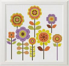 Embroidery Chart 3 Floral Cross Stitch Flower Cross Stitch Pattern Modern