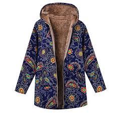Clearance Sale Fleece Winter Coat Plus Size Women Warm Parka Hooded Zipper Jacket Blue 3xl