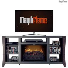cherry wood media center electric fireplace wall mantel tv stand w realistic fireplace insert