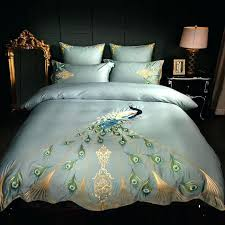 king duvet covers blue luxury cotton embroidery blue peacock bedding set duvet cover bed linen bed