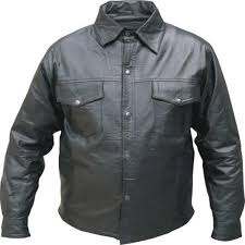 add to my lists allstate mens western style lightweight black leather motorcycle shirt