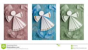 Paper Decorations Christmas Handmade Christmas Decorationspaper Angel On Wooden Background