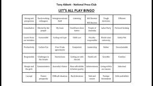 Office Bingo Pm Tony Abbott Press Club Bingo Helpful Suggestion From Bill