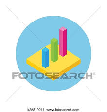 Pie Chart Flat Sign Design Isometric Clipart K35819211