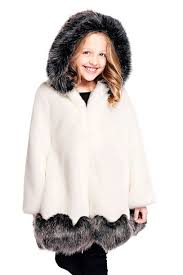 Kid\u0027s White \u0026 Grey Faux Fur-Trimmed Coat | Kids Fur Coats