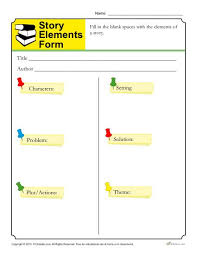Plot Elements Story Elements Form Template For Students