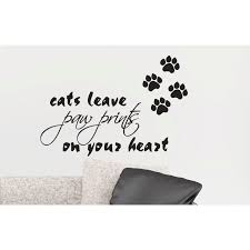 cats leave paw prints on your heart removable art wall decal vinyl sticker