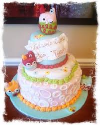 Owl Baby Shower Cakes For A Girl