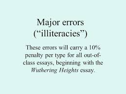 "major errors ""illiteracies"" these errors will carry a  1 major"