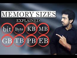 Explain Computer Memory Sizes Bit Byte Kb Mb Gb Tb Pb
