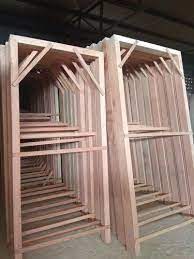 strong teak wood door frame at