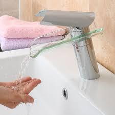 glass waterfall mixer tap bathroom basin faucet sink single