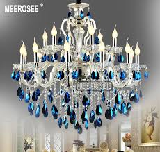 meerosee modern large 18 arms silver crystal chandelier light blue crystal re light hanging lamp fixture for foyer lobby md8453 l18 chandeliers alloy