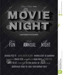Movie Night Invitation Templates Vintage Movie Night Invitation Template Stock Vector Illustration
