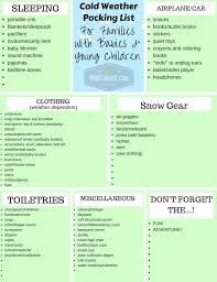 Baby Stuff Checklist Cold Weather Packing List For Families With Babies And Young