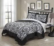 3 Piece King Faith Black/White Quilt Set - Kids Whs & 3 Piece King Donato Black/White Quilt Set Adamdwight.com