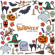 Background Of Halloween Icons With Round Frame Template For
