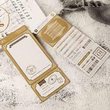 20 Pcs Golden Airline Boarding Pass Wedding Invitation Card