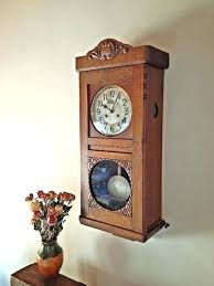 pendulum wall clock wooden striking working vintage large for