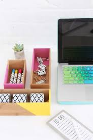 fun diy ideas for your desk color block box supplies storage cubicles ideas