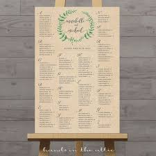Seating Chart In Alphabetical Order Rustic Wedding Seating Chart Kraft Portrait Alphabetical