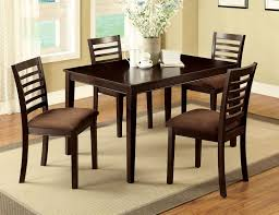 5 pc espresso wood dining set table chairs padded microfiber seat