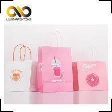 Custom Logo Pink Printed Carry Bag Bakery Cake Cookie Kraft Paper
